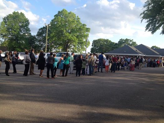Line outside the Funeral Home